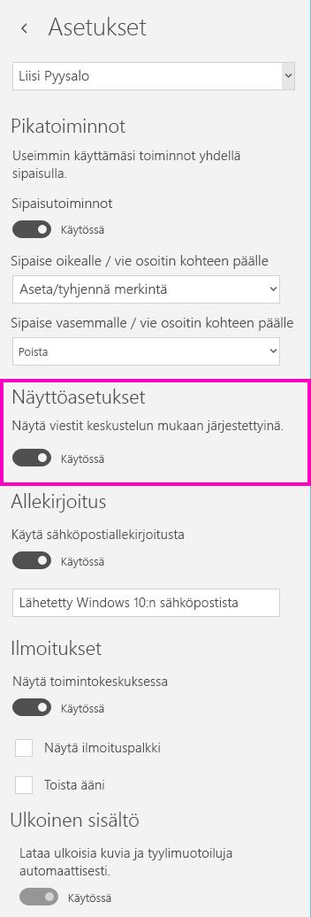 Keskustelunäkymän poistaminen käytöstä Windows 10:n postisovelluksessa