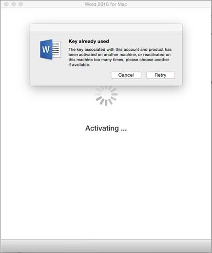 Avain on jo käytössä -viesti Office 2016 for Macin aktivoinnin yhteydessä