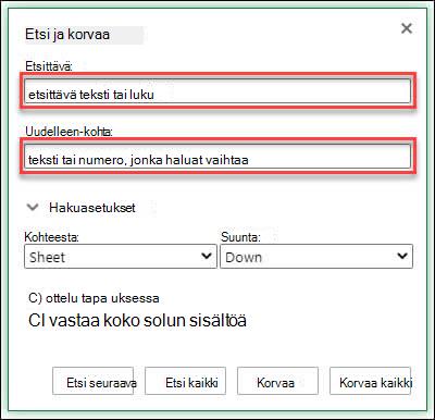 Työkirjan tai laskenta taulukon tekstin tai numeroiden korvaaminen painamalla näppäin yhdistelmää Ctrl + H