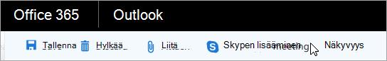 Skype-kokouksen lisääminen sähköpostiin