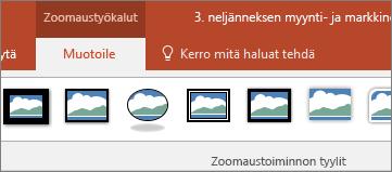 Näyttää Zoomaustoiminnon työkalut -valikon PowerPointin valintanauhan Muotoile-välilehdessä.
