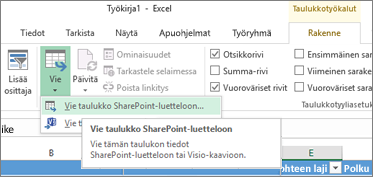 Vie SharePointiin -linkki korostettuna Excelissä