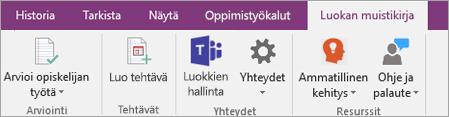 OneNoten valintanauhan Luokan muistikirja -välilehti, jossa näkyy Teamsin Luokkien hallinta -painike.