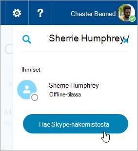 Näyttökuva hakuruudusta Skype-ruudussa