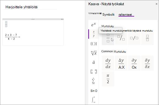 Valitse rakenteet ja valitse sitten luokka, jos haluat selata käytettävissä olevia matemaattisia rakenteita.