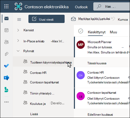 Outlookin Office 365-ryhmät
