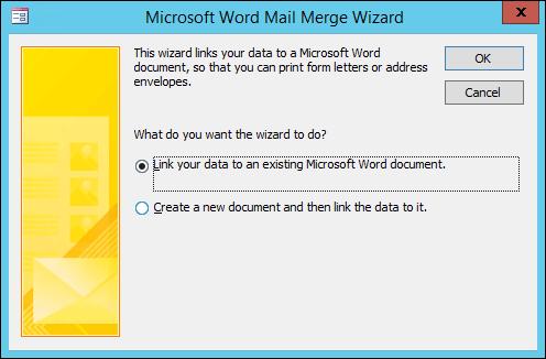 Valitse tämä, jos haluat linkittää tiedot aiemmin luotuun Word-asia kirjaan tai luoda uuden asia kirjan.
