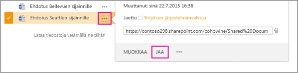 Valitse jaettavan tiedoston vieressä olevat kolme pistettä ja valitse Jaa.
