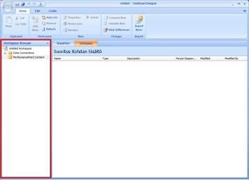 Raporttinäkymät-ikkunan suunnittelusovelluksen työtilaselain