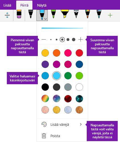 Käsin piirretyn viivan leveys- ja OneNote for Windows 10 asetukset