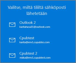 Valitse tili, josta sähköposti lähetetään
