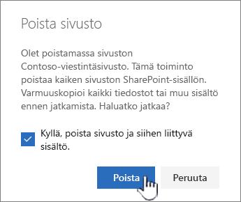 Jos ole varma, että haluat poistaa sivuston, valitse Poista