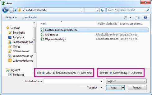 Avaa-valintaikkuna, jossa näkyvät Project Web App -tiedostot