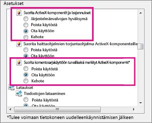 Internet Explorerin lataamisen ja suorittamisen salliminen ActiveX-ohjaimilla