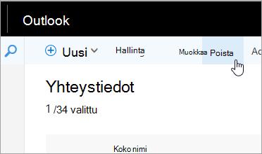 Näyttökuva Outlookin siirtymispalkin Poista-painikkeesta.