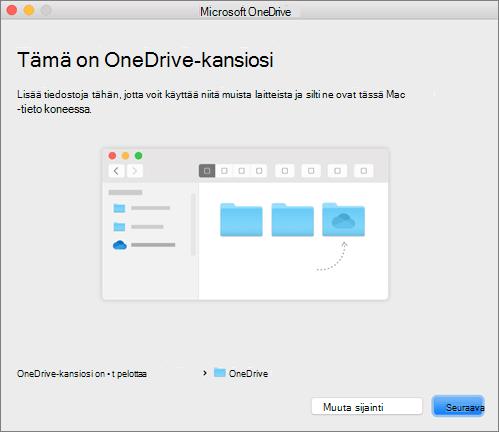 Näyttökuva Tämä on OneDrive-kansiosi -sivusta Macin ohjatussa Tervetuloa OneDriveen -toiminnossa