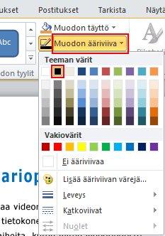 Muuta ääriviivan väriä käyttämällä Muodon ääriviiva -valintaa Muotoile-välilehden Muodon tyylit -ryhmässä.