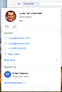 Yhteys tieto kortti Outlook-kalenterissa
