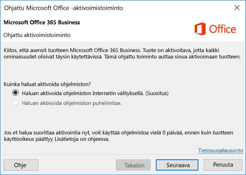 Näyttää Office 365 Businessin ohjatun aktivoimistoiminnon