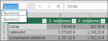 Excelin osoiterivi kaavarivin vasemmalla puolella