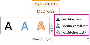 Piirtotyökalut - Muotoile -välilehden WordArt-tyylit-ryhmä