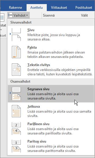 Vaihtoasetukset näytetään Asettelu-välilehdessä.