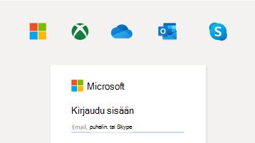 Kuva sisäänkirjautumisesta Microsoft-tilillä