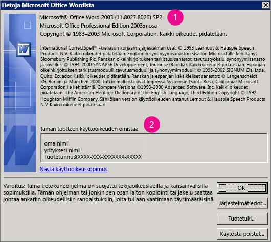 Tietoja Microsoft Office Word 2003:sta -ikkuna