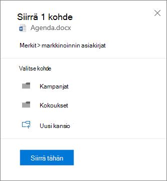 Näyttö kuva tiedoston siirtämisestä OneDrive for Businessista SharePoint-sivustoon