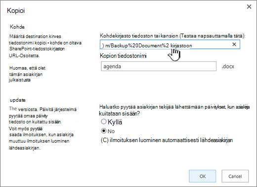 Kopioi-valintaikkuna, jossa URL-osoite näkyy valittuna.