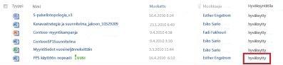 SharePoint-kirjasto sen jälkeen, kun hyväksymistä odottavan tiedoston tilaksi on muutettu Hyväksytty