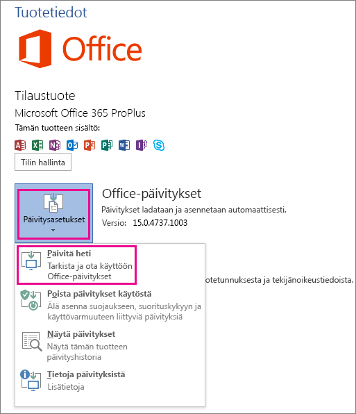 Office-päivitysten tarkistaminen manuaalisesti Word 2013:ssa