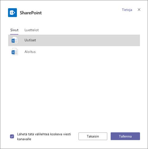 SharePoint-välilehdet