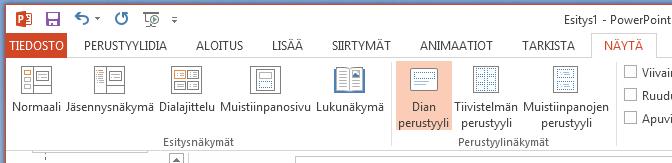 Dian perustyyli-painike on valintanauhan Näytä-välilehden.