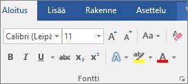 Valitse Wordin Aloitus-välilehden Fontti-ryhmässä haluamasi fontti ja fonttikoko.