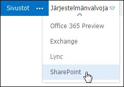 Office 365 -portaalin Järjestelmänvalvojavalikko, jossa on SharePoint valittuna.