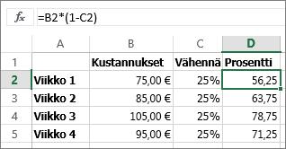 Esimerkki summan pienentämisestä prosenttiluvulla