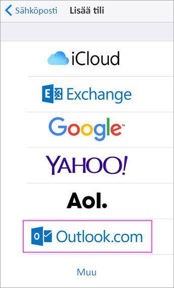 Valitse Outlook.