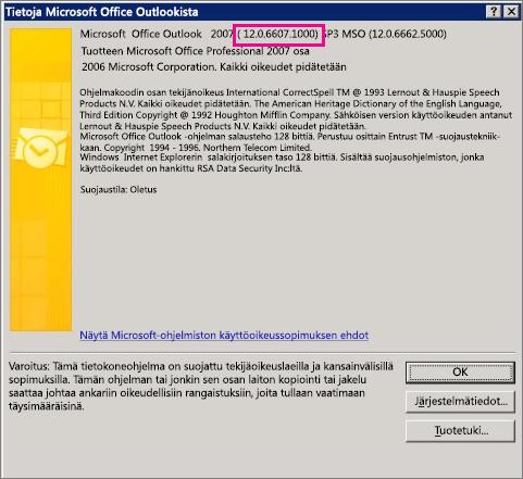"""Näyttökuva, joka osoittaa Outlook 2007:n versionumeron sijainnin """"Tietoja Microsoft Office Outlookista"""" -valintaikkunassa."""