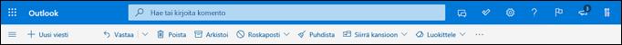 Outlook.comin Saapuneet-kansion otsikko
