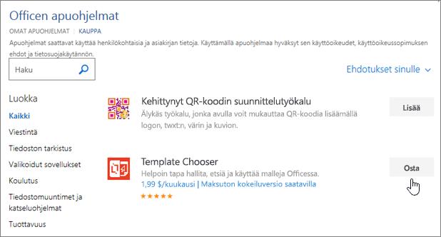 Näyttökuva Office-apuohjelmat-sivun kohtaa, johon voit valita tai Etsi Wordin apuohjelman.