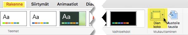 Dian koko -painike on työkalurivin Rakenne-välilehden oikeassa reunassa