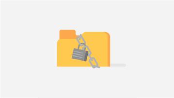 Kuva tiedostokansiosta, joka on kääritty ketjulla ja riippulukolla