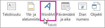 WordArt-objektin lisääminen napsauttamalla