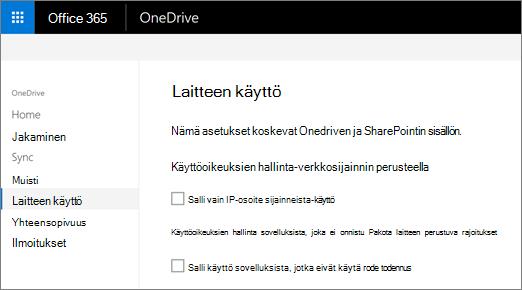 OneDrive-hallintakeskuksen laitteen access-välilehti