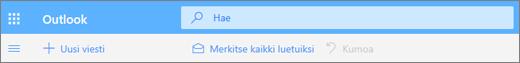Näyttökuva, jossa näkyy hakukysely Outlook.comissa.