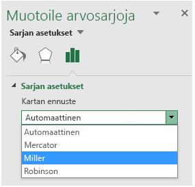 Excelin karttakaavion projektioasetukset