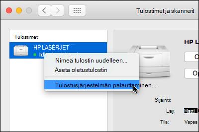 Ohjausobjektin napsauttamalla Palauta tulostaminen järjestelmän OS x käyttää tulostimet-luettelosta