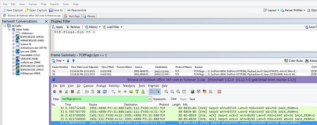 Netmonin tai Wiresharkin suodatin synkronointipaketeille molemmissa työkaluissa: TCP.Flags.Syn == 1.