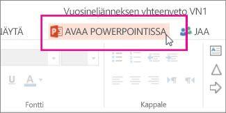PowerPointin työpöytäversiossa avaaminen